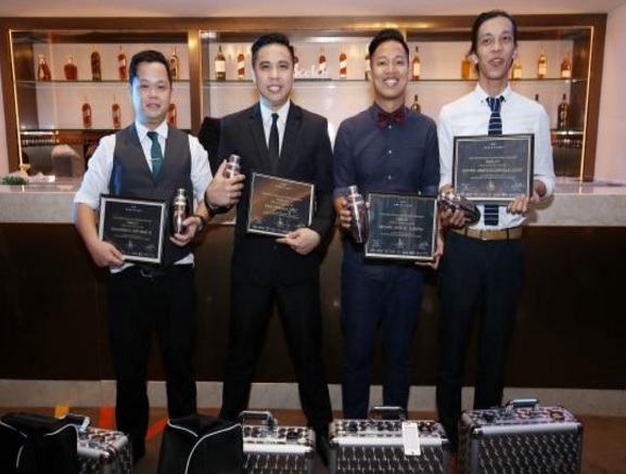 The four bartenders representing the Philippines at the regional finals in Bali, Indonesia. Left to Right: Jay Natividad from Solaire Resort and Casino, Niño Cruz from the City of Dreams, Michael Tubera from Rambla, and Lester Ligon from ABV.