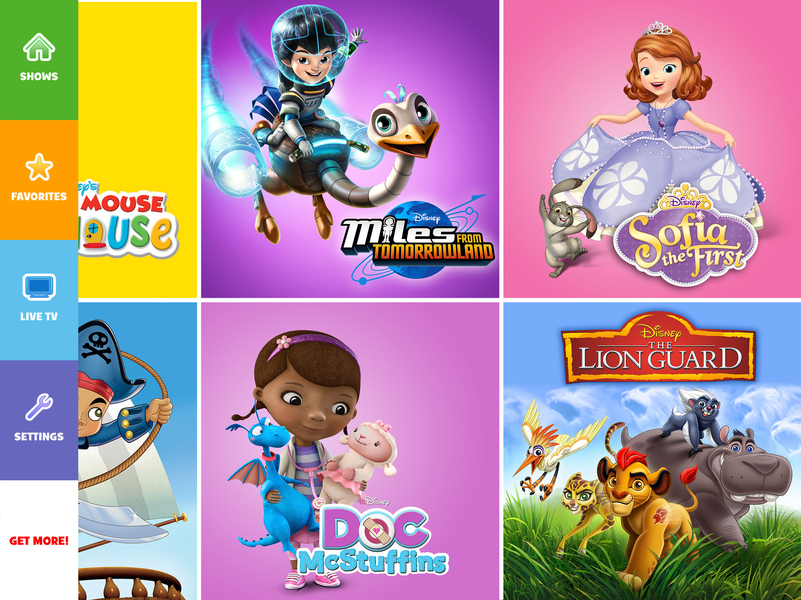 Disney junior app that lets kids watch their favorite programs such as