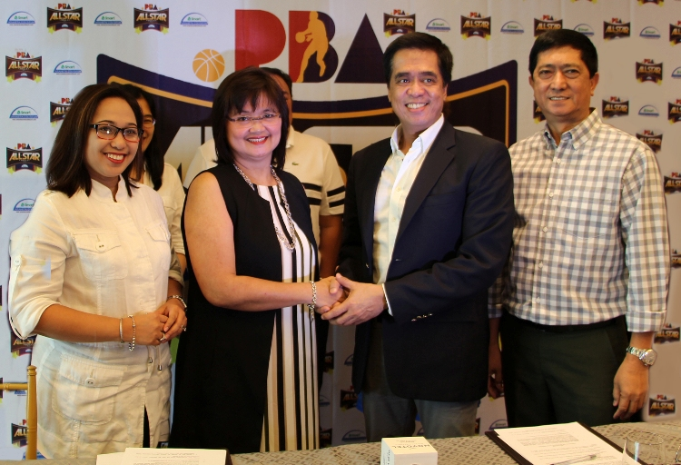(L-R) Uniprom Inc. head of sales and marketing Shiela Vitug, Uniprom Inc. OIC-COO Irene Jose, PBA commissioner Andres Narvasa, Jr., and 2016 PBA Season chairman Robert Non.