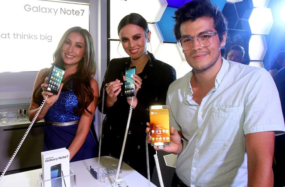 Samung mobile phone ambassadors Solenn Heussaff, Georgina Wilson and Erwan Heaussaff