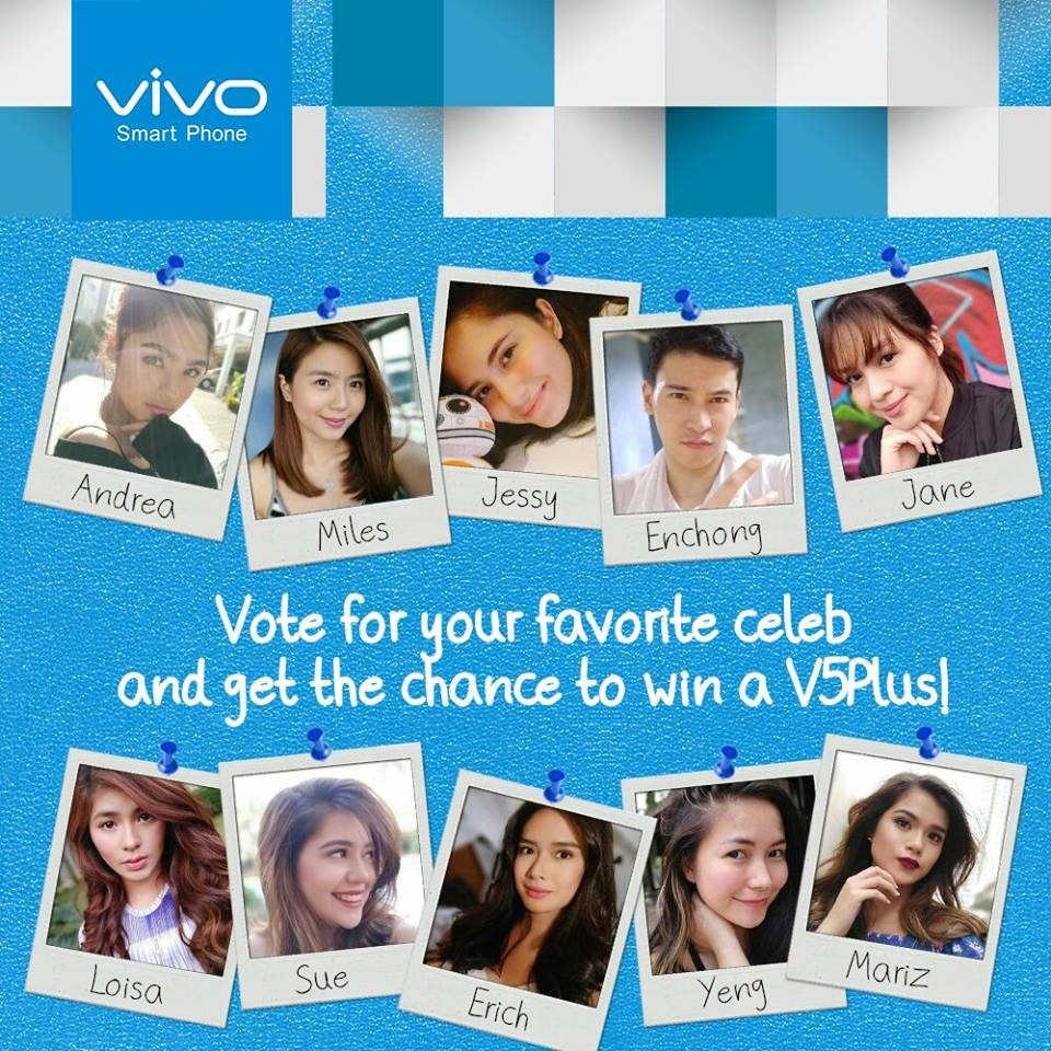 Vote for your favorite local celebrity V5 Plus selfie in the @vivophil Instagram account and get achance to win one of ten Vivo V5 Plus phones, while helping a charitable institution.