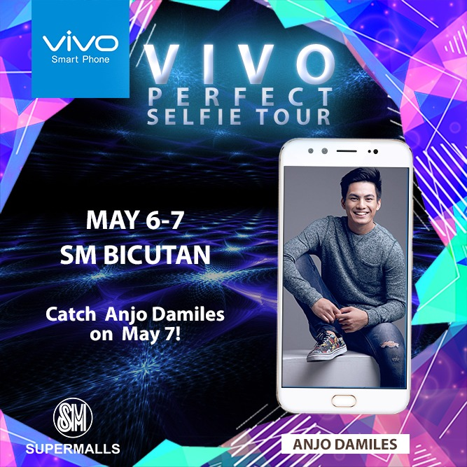 Get serenaded by Star Magic actor-model Anjo Damiles as you enjoy Vivo's newest perfect-selfie phone at SM Bicutan on May 6