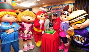 The entire Jollibee Squad joins HugKnucklesTV's stars in celebrating Josh's birthday (center) and the YouTube creators' visit to the Philippines