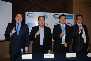 (From left) Philippines' Concepcion Midea Inc. General Manager Phillip Trapaga; Chair and CEO Joseph Concepcion; Midea CAC (Commercial Air Conditioner Division) Marketing Manager Peck Zhao; and CAC Overseas Director of Asia &; Pacific Region Ken Liang shares to the press their vision for the Midea V6 Series VRF at its recent launch press conference.